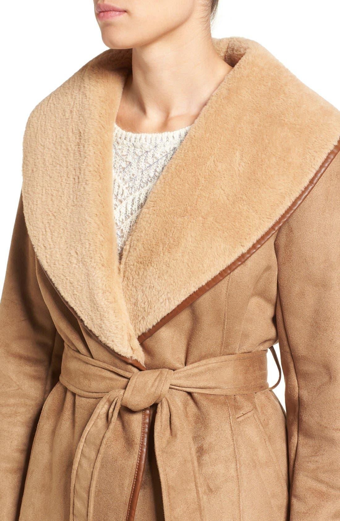 Alternate Image 4  - Ellen Tracy Faux Shearling Wrap Coat