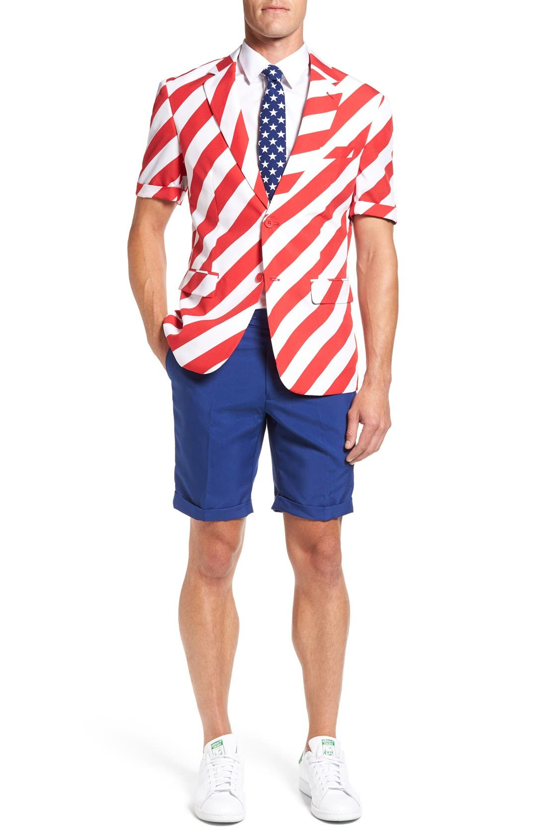 OppoSuits 'Summer United Stripes' Trim Fit Short Suit with Tie