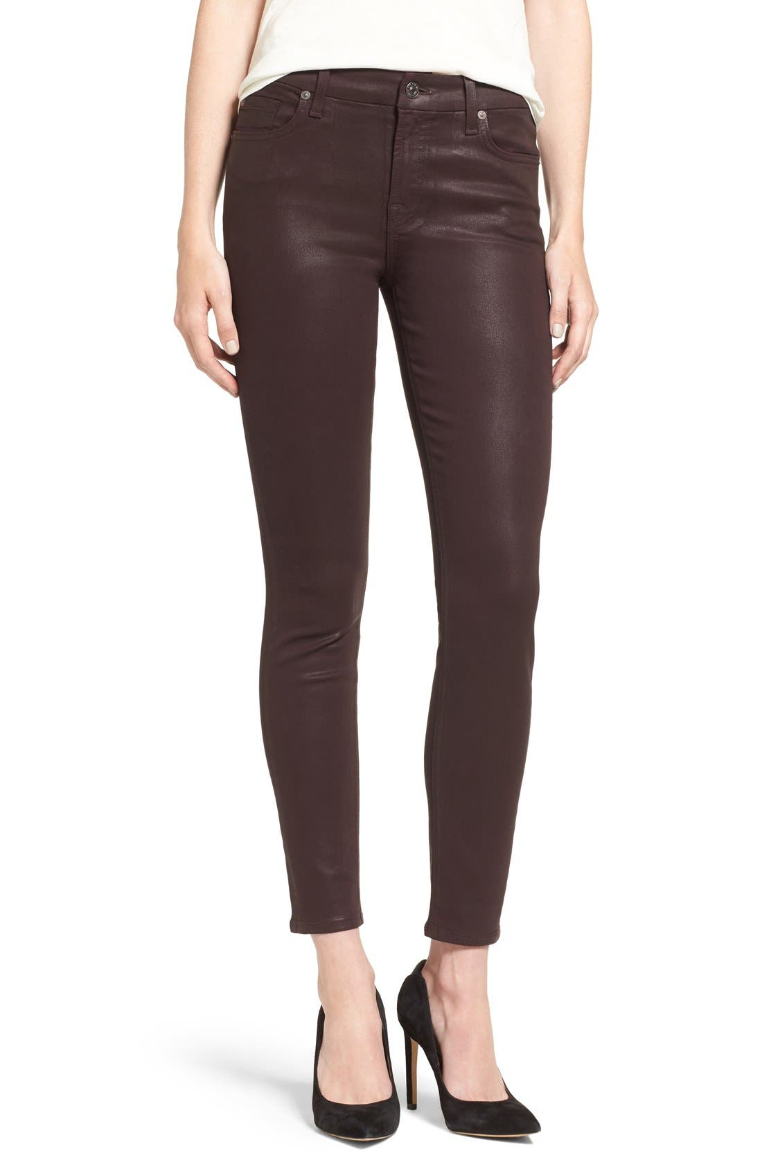 Alternate Image 1 Selected - 7 For All Mankind® Coated Ankle Skinny Jeans (Plum Coated)