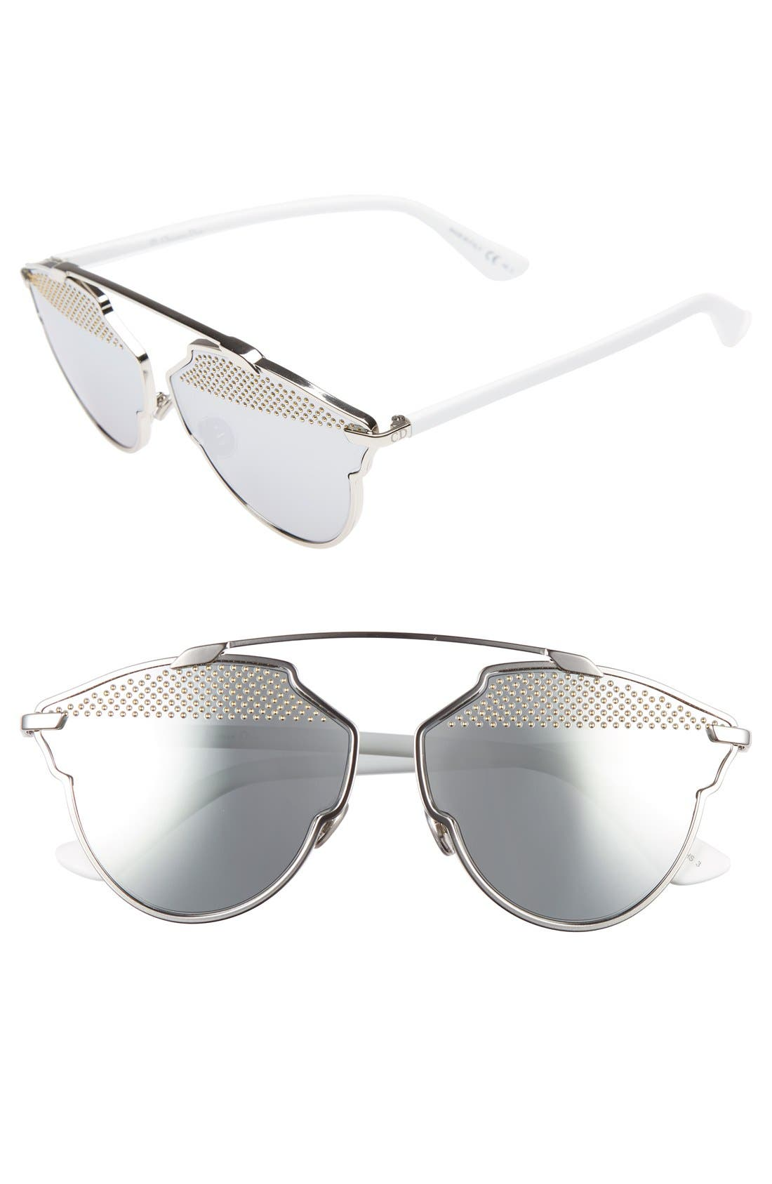DIOR So Real Studded 59mm Brow Bar Sunglasses