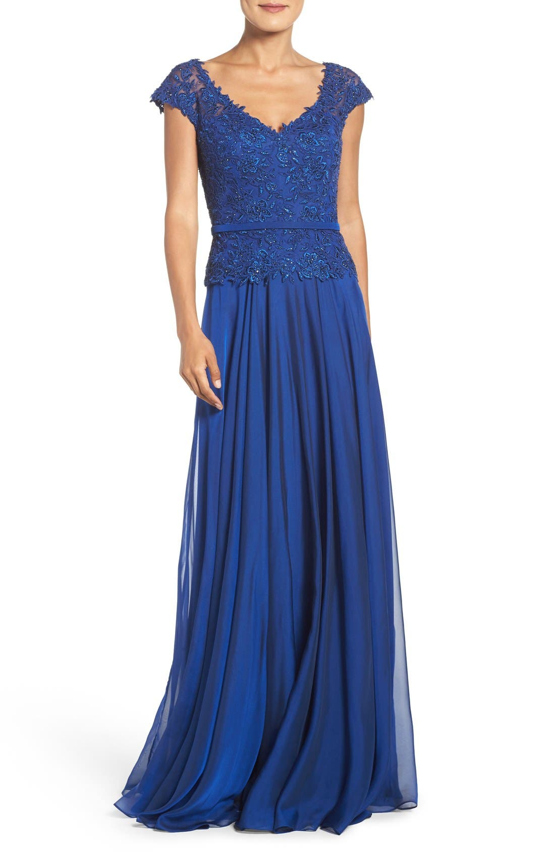 La Femme Embellished Lace & Chiffon Gown