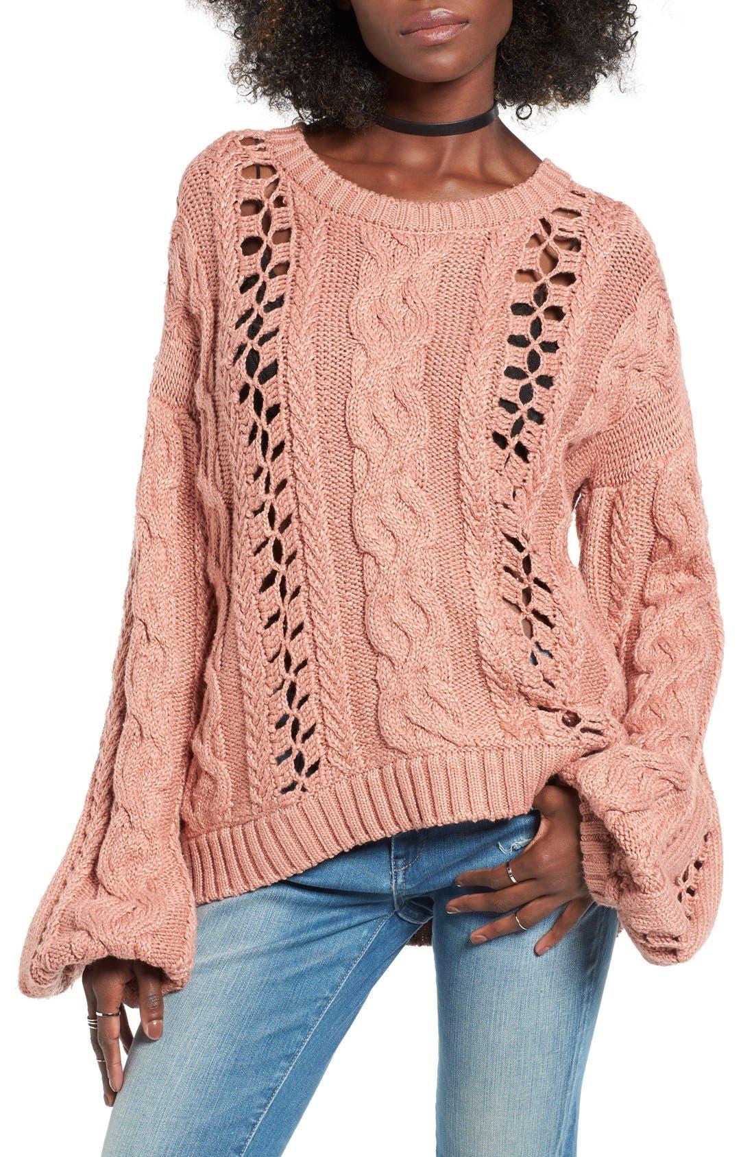 Main Image - For Love & Lemons Wythe Openwork Bell Sleeve Sweater