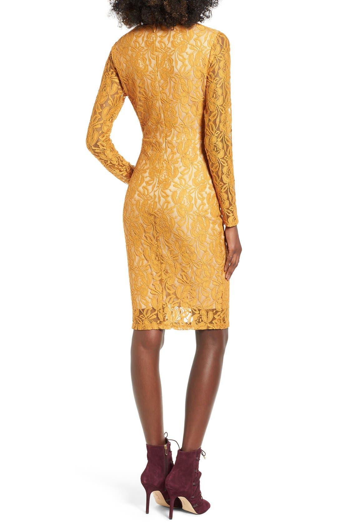 Alternate Image 2  - Love, Fire Lace-Up Body-Con Dress