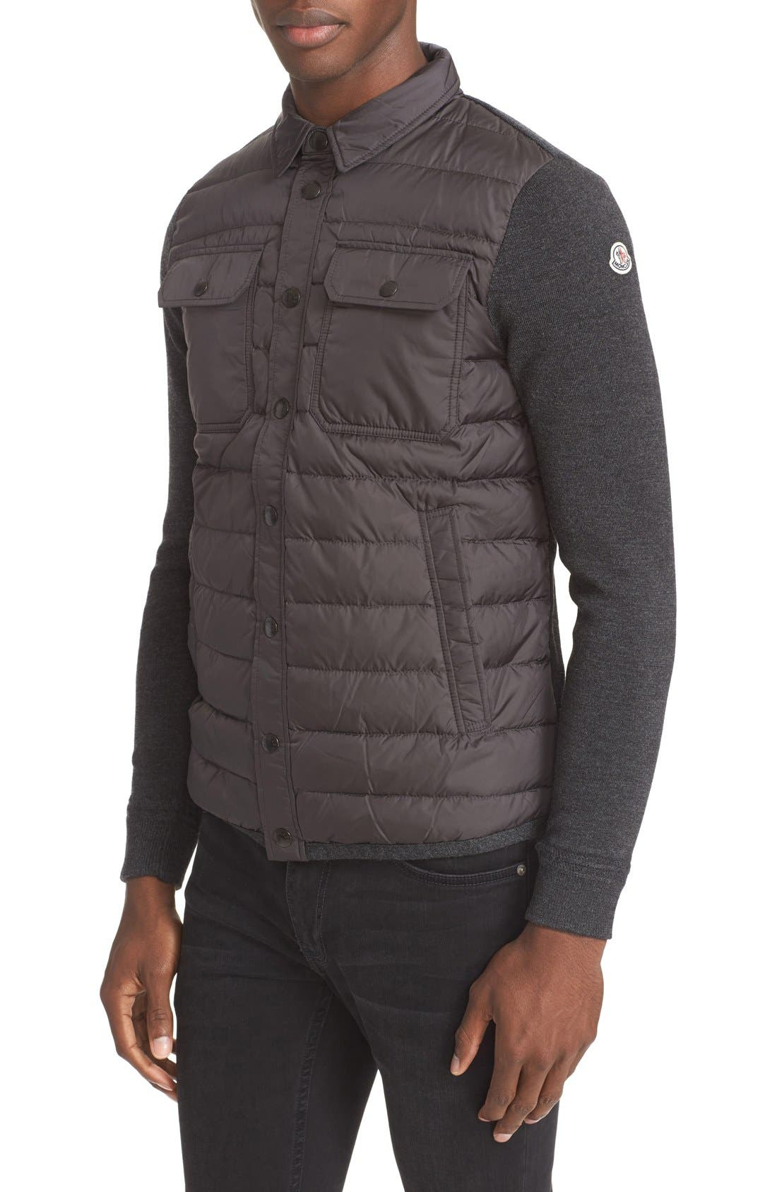 Moncler Quilt Front Down Sweater Jacket