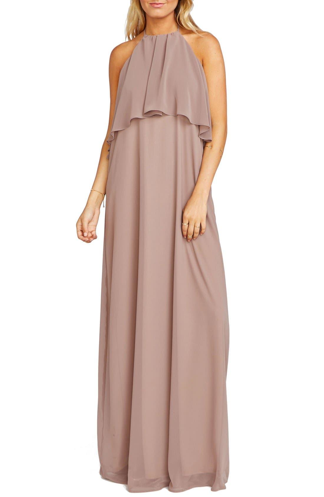 Show Me Your Mumu Aimee Ruffle Bodice Chiffon Halter Gown