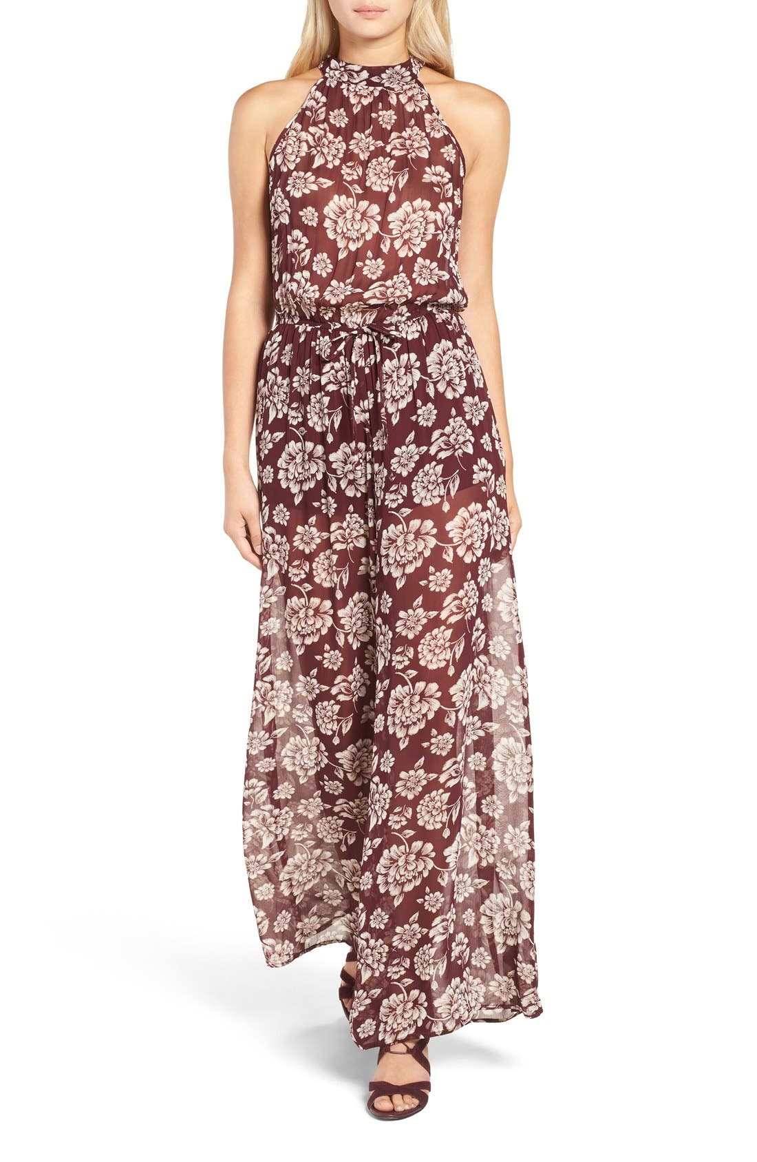 Alternate Image 1 Selected - Band of Gypsies Floral Print Chiffon Jumpsuit