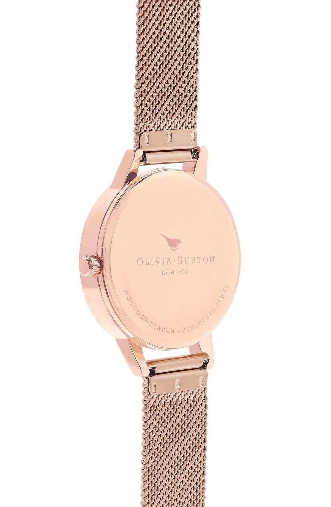 Alternate Image 2  - Olivia Burton Lace Detail Mesh Bracelet Watch, 30mm