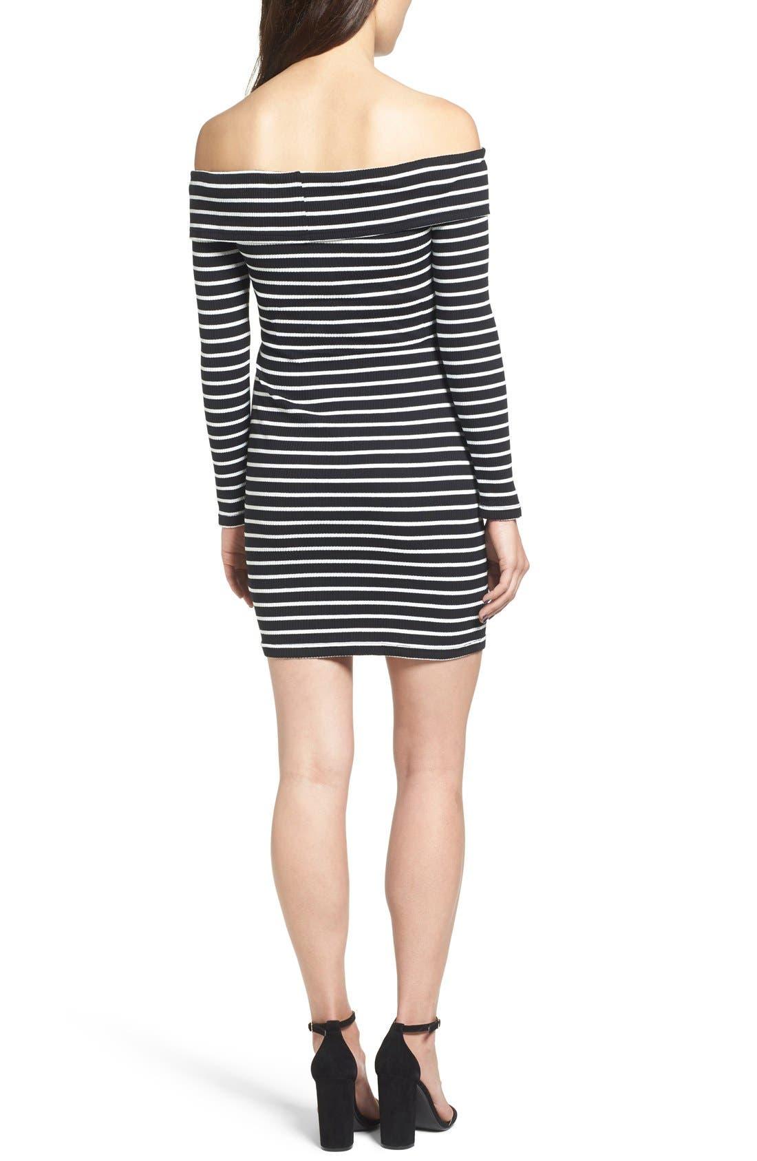 Alternate Image 2  - Cream and Sugar Stripe Off the Shoulder Body-Con Dress