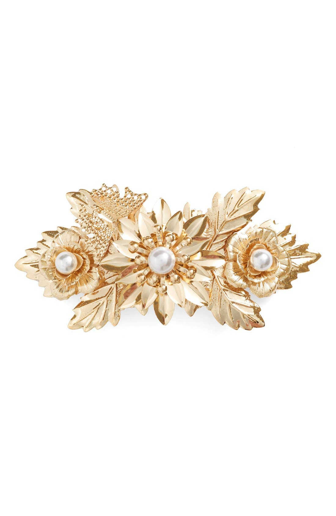 Alternate Image 1 Selected - Cara Faux Pearl Floral Barrette