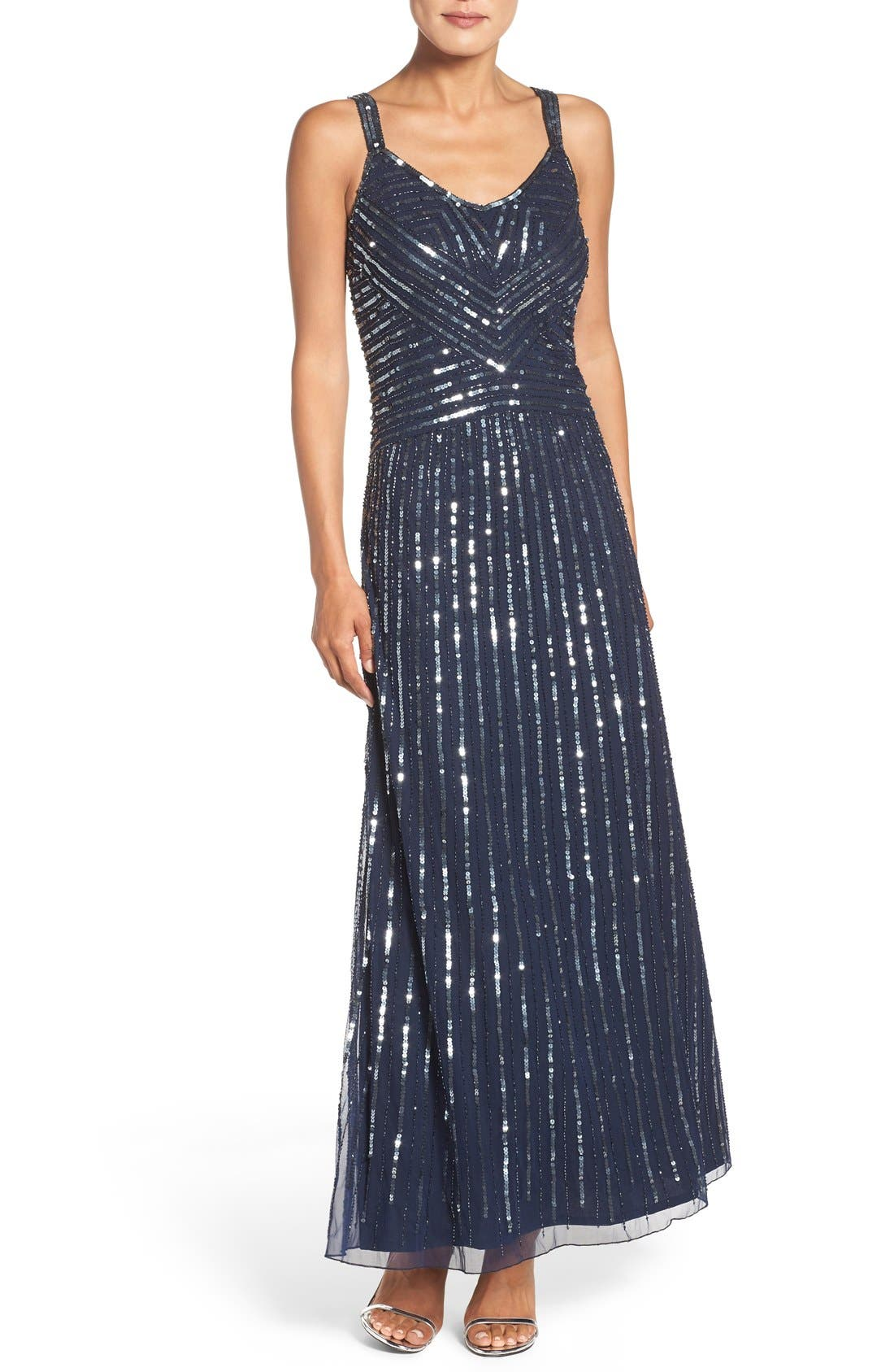 Main Image - Pisarro Nights Embellished Mesh Fit & Flare Dress