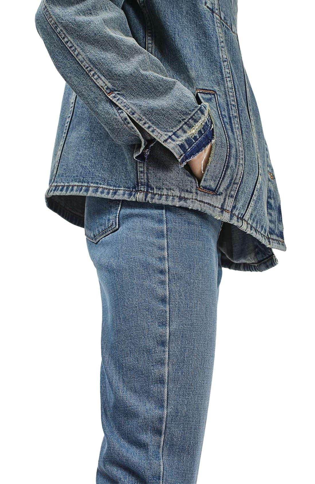 Alternate Image 5  - Topshop Moto Dirty Lilac Oversized Denim Jacket