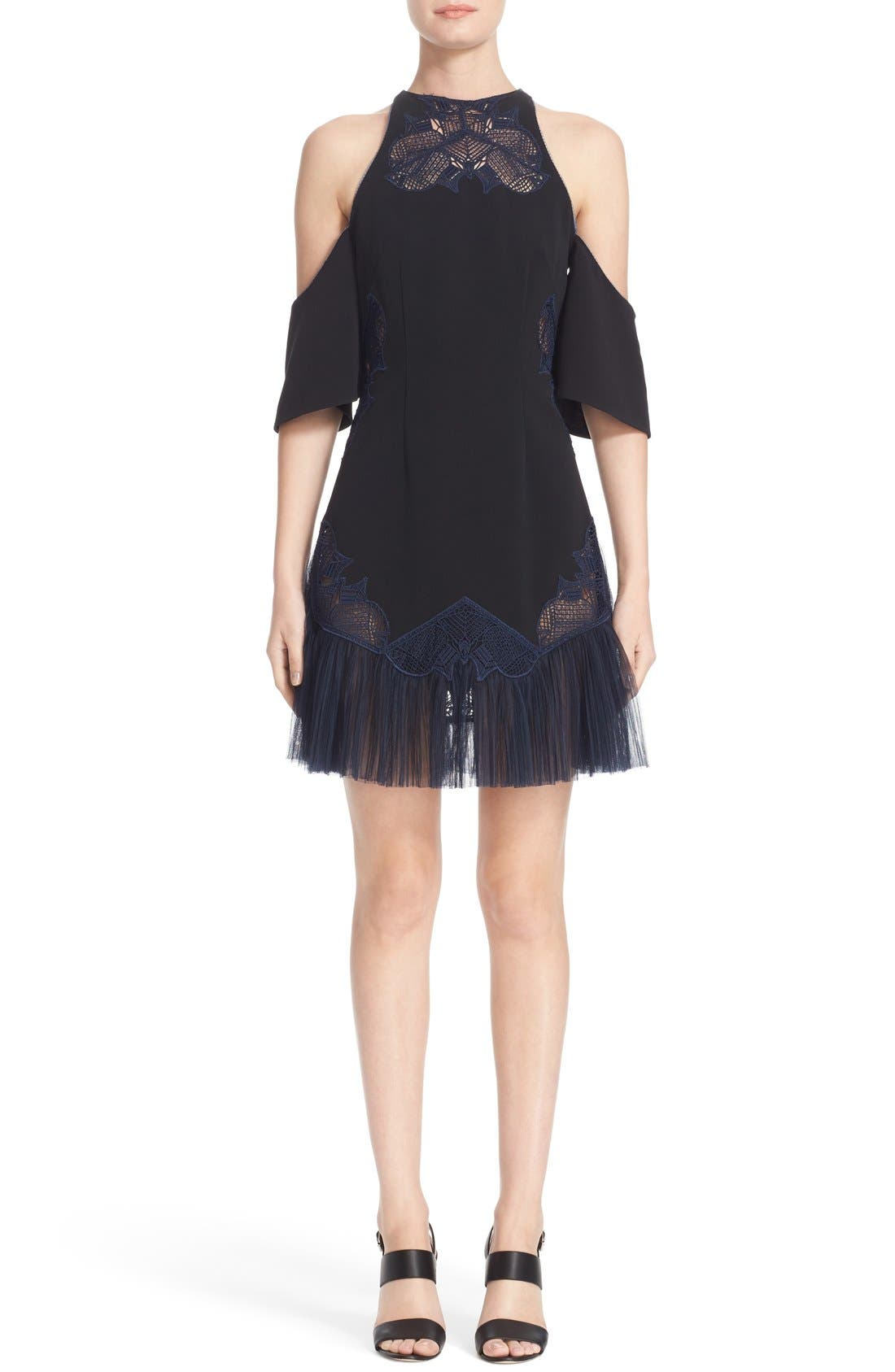 JONATHAN SIMKHAI Crepe Cold Shoulder Dress