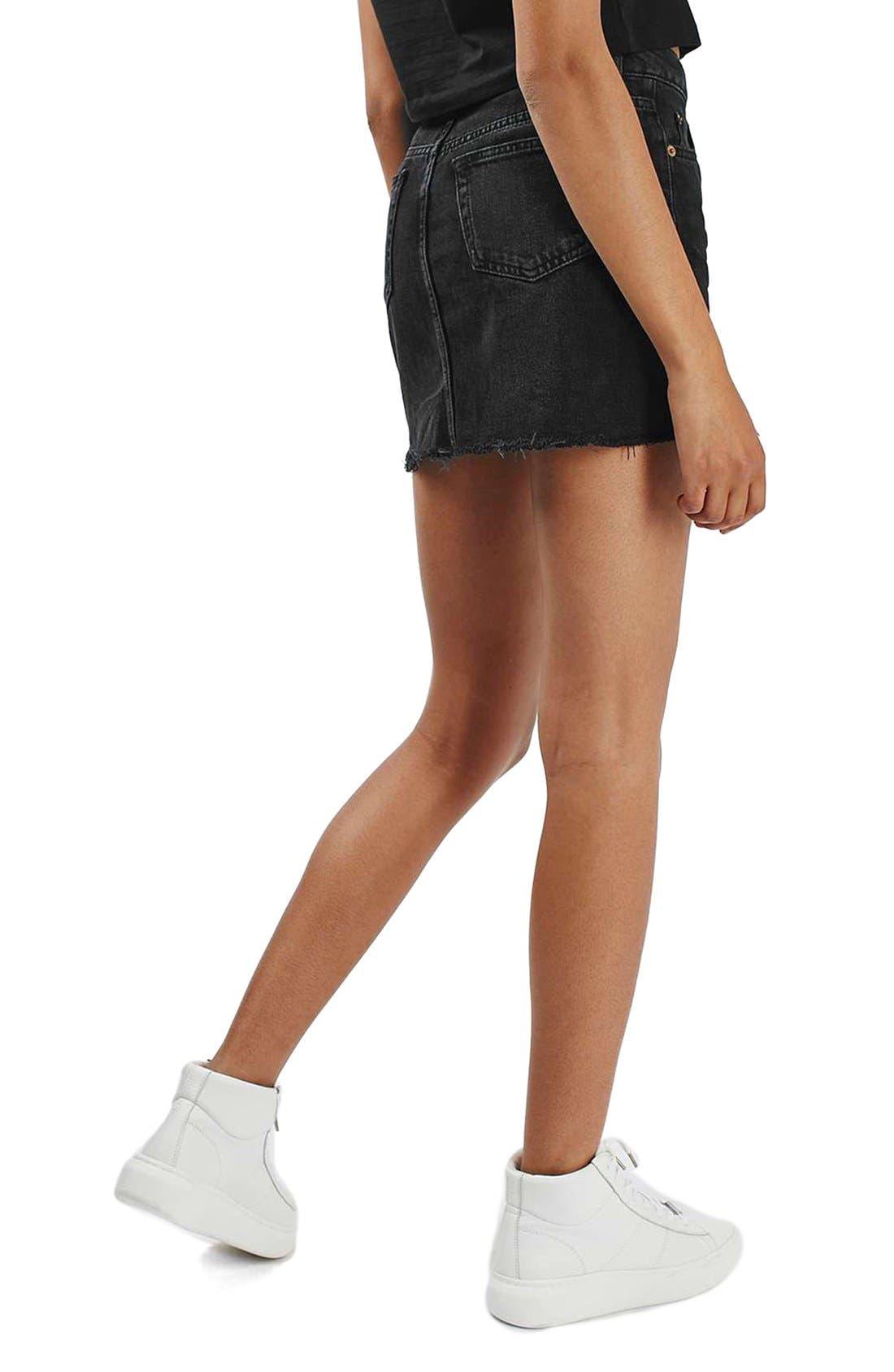 Alternate Image 3  - Topshop Moto Cutoff Denim Miniskirt