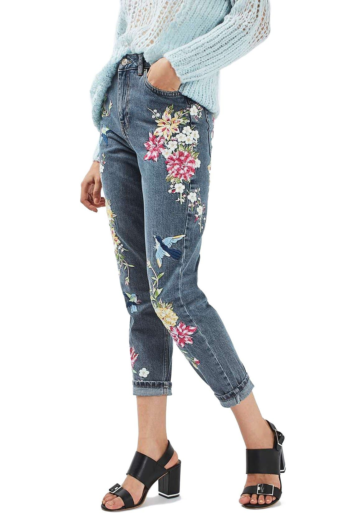 Alternate Image 1 Selected - Topshop Garden Embroidered Mom Jeans