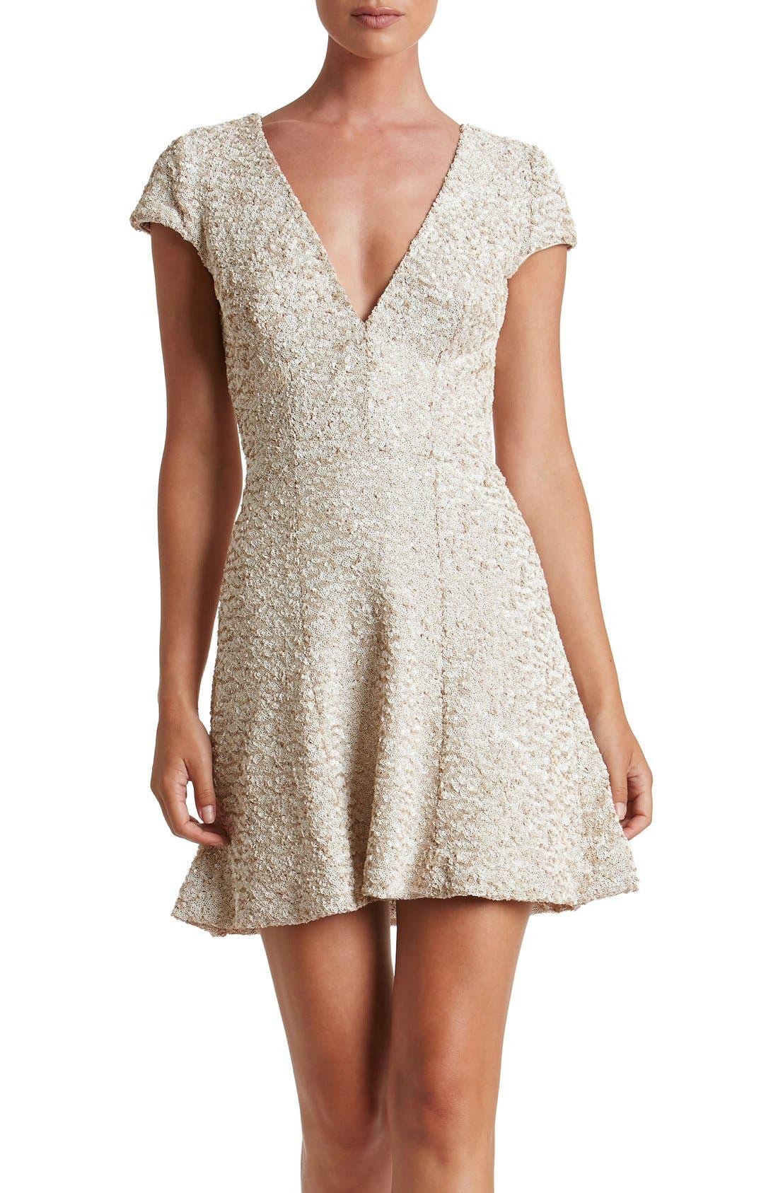 Main Image - Dress the Population Georgina Sequin Fit & Flare Dress