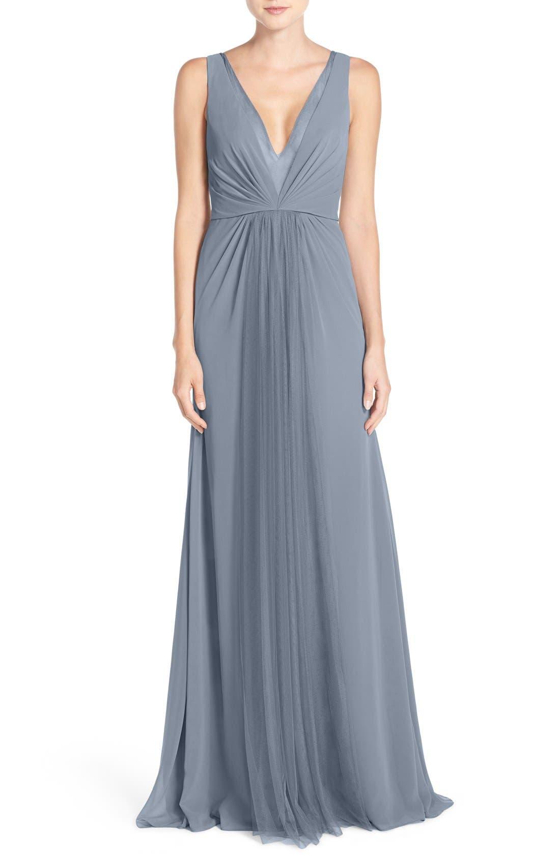 Alternate Image 1 Selected - Monique Lhuillier Bridesmaids Deep V-Neck Chiffon & Tulle Gown
