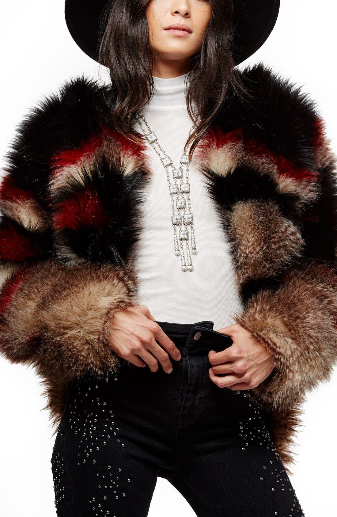 Main Image - Free People Scarlet Faux Fur Jacket
