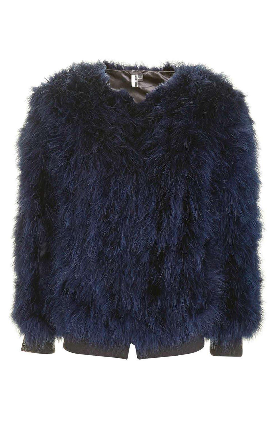 Alternate Image 4  - Topshop Ozzy Marabou Feather Coat