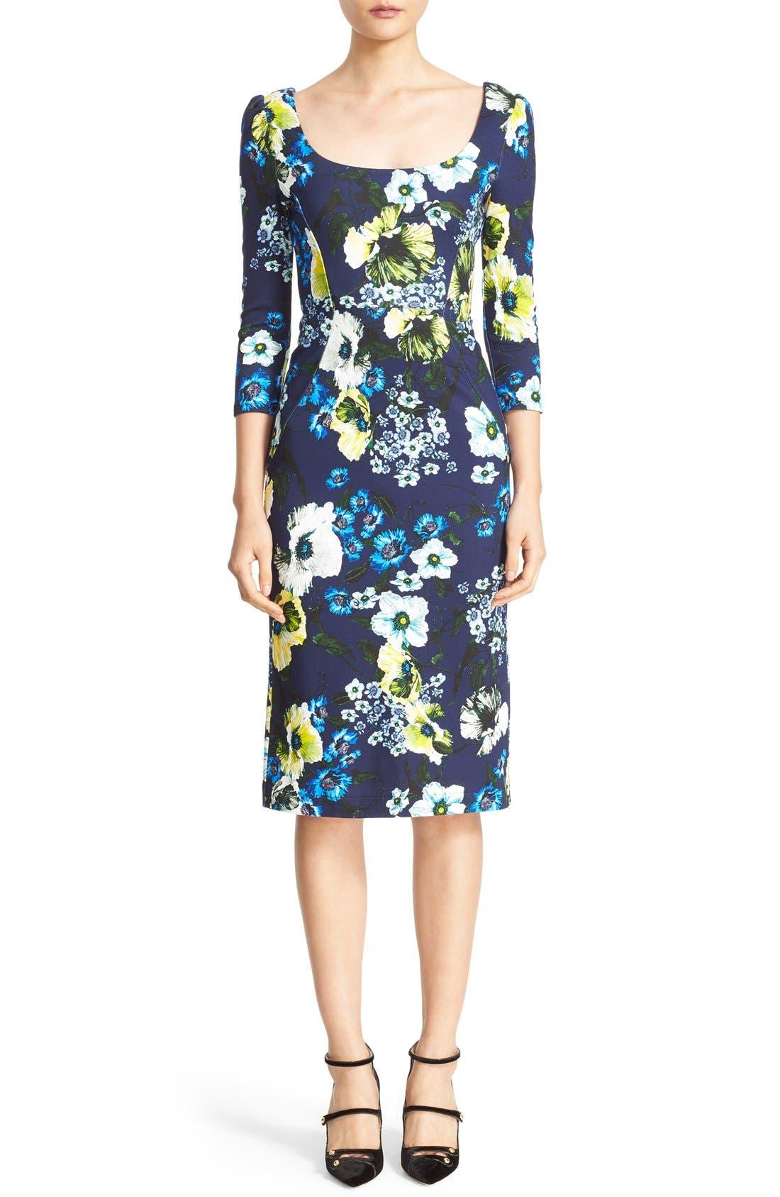 ERDEM Tess Floral Print Jersey Dress