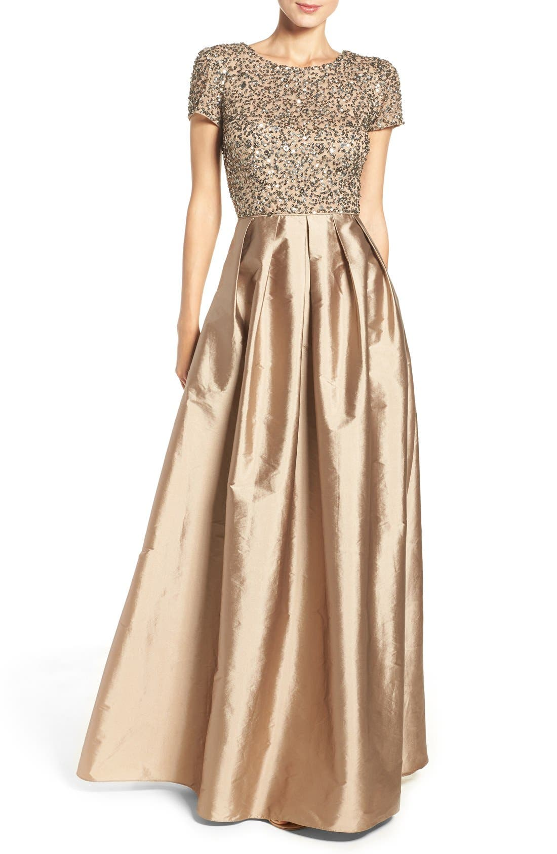 Alternate Image 1 Selected - Adrianna Papell Sequin Bodice Taffeta Ballgown