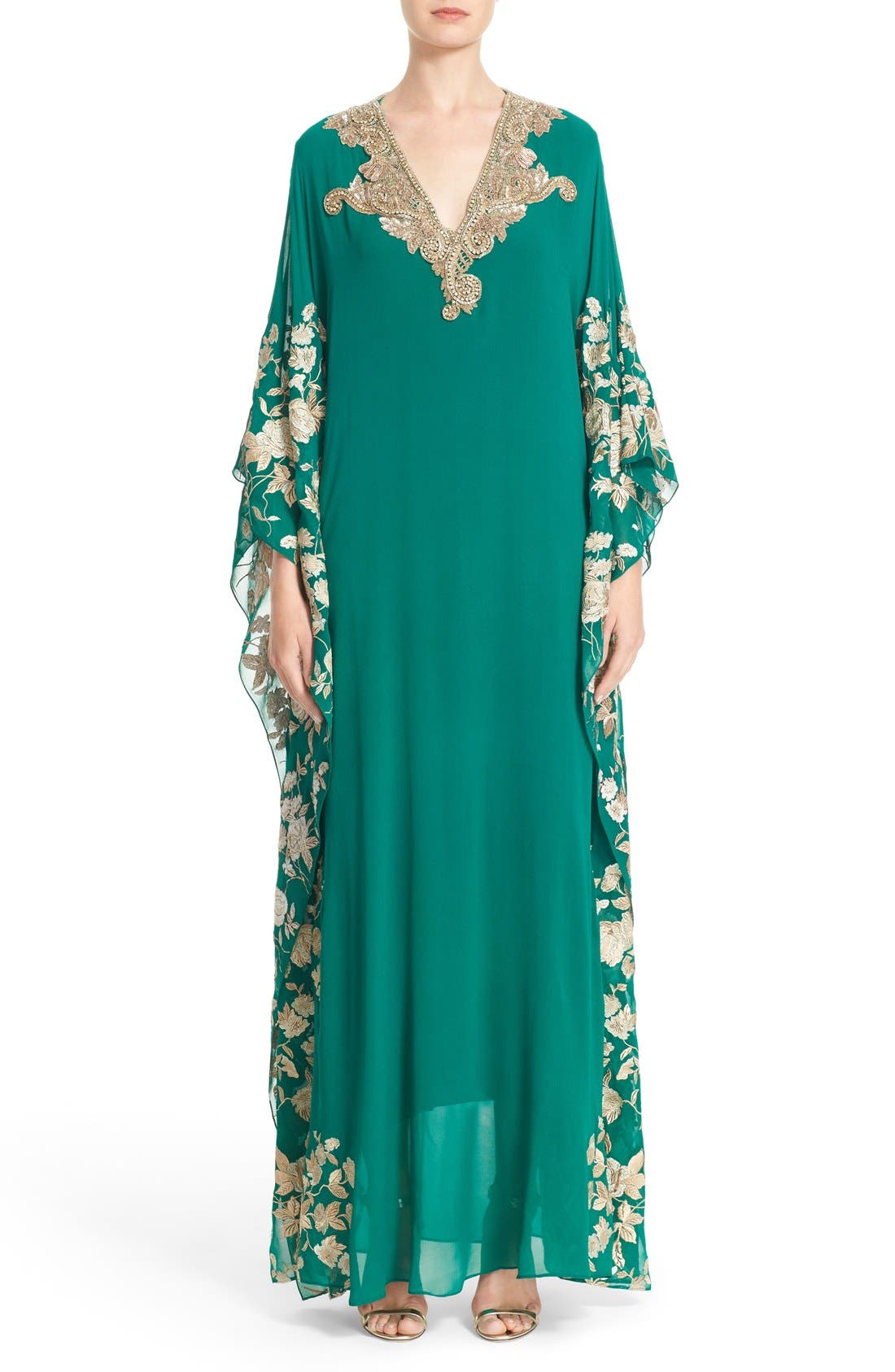 Badgley Mischka Embellished & Embroidered Caftan