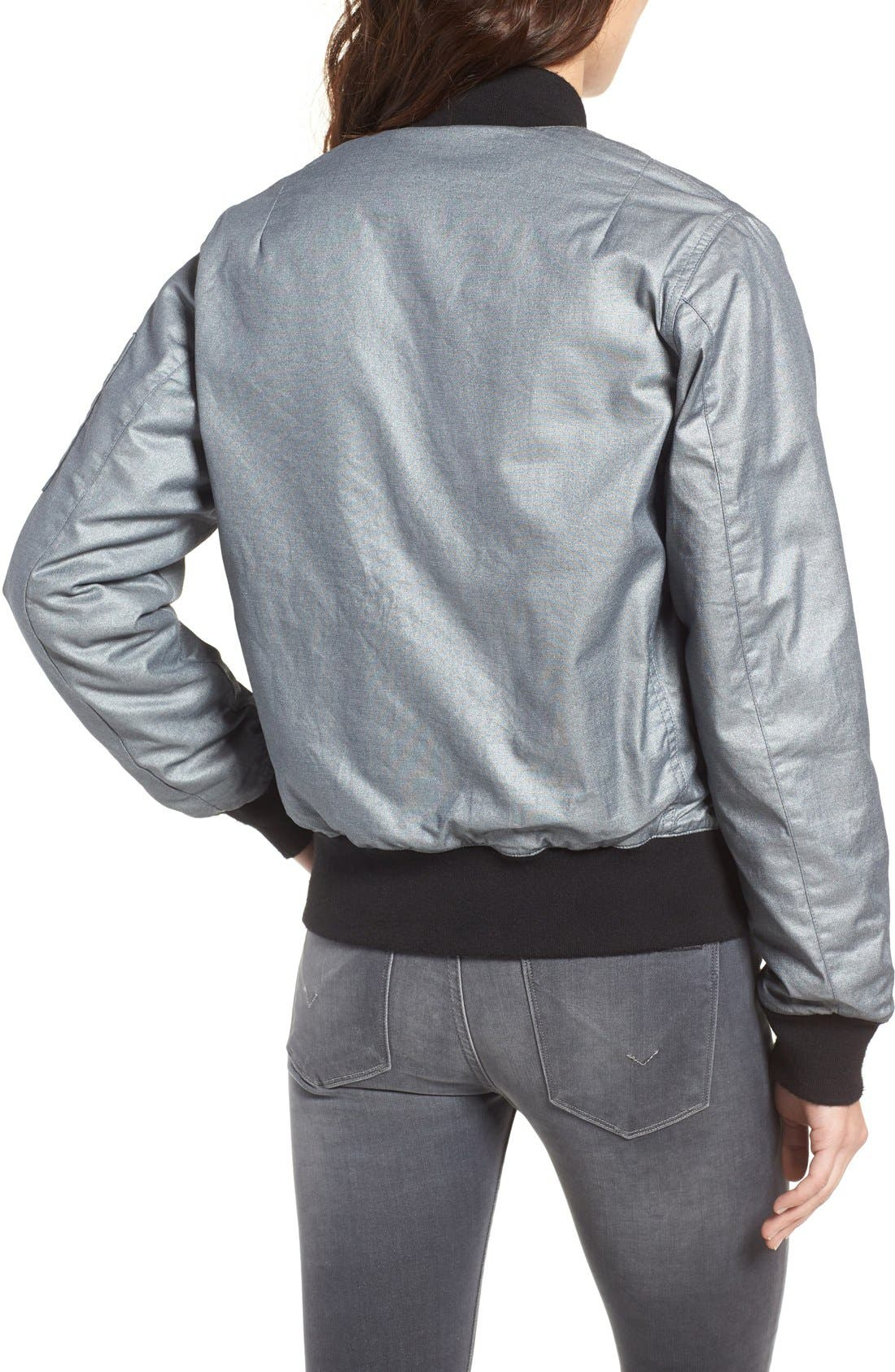 Alternate Image 2  - Hudson Jeans Gene Metallic Bomber Jacket