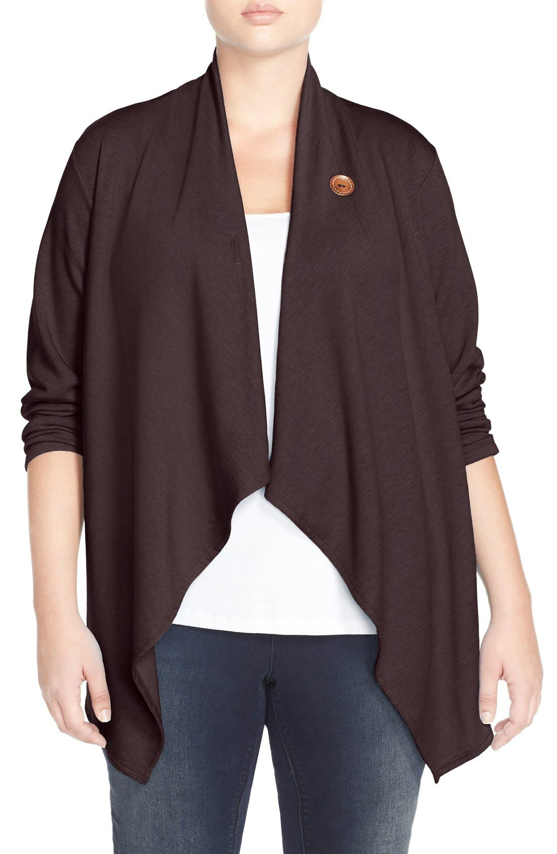 Bobeau One-Button Fleece Cardigan (Plus Size)