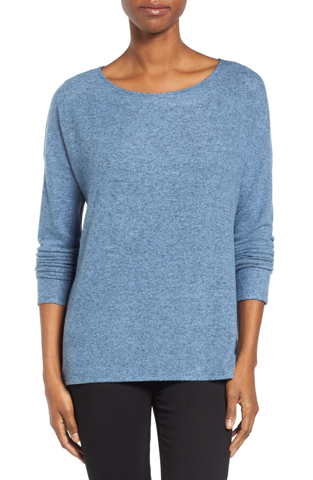 Gibson Cozy Fleece Ballet Neck High/Low Pullover (Regular & Petite)