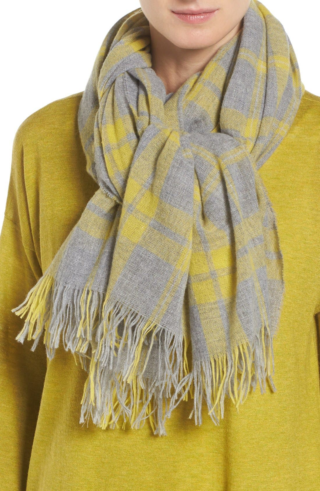Main Image - Eileen Fisher Soft Wool & Cashmere Plaid Scarf