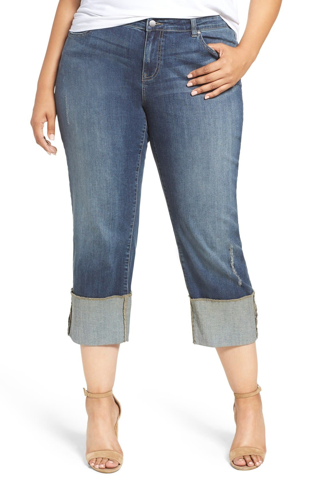 CASLON® Cuffed Crop Jeans