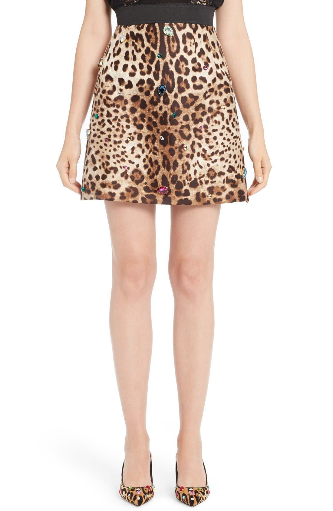 DOLCE&GABBANA Embellished Leopard Print Mikado Skirt