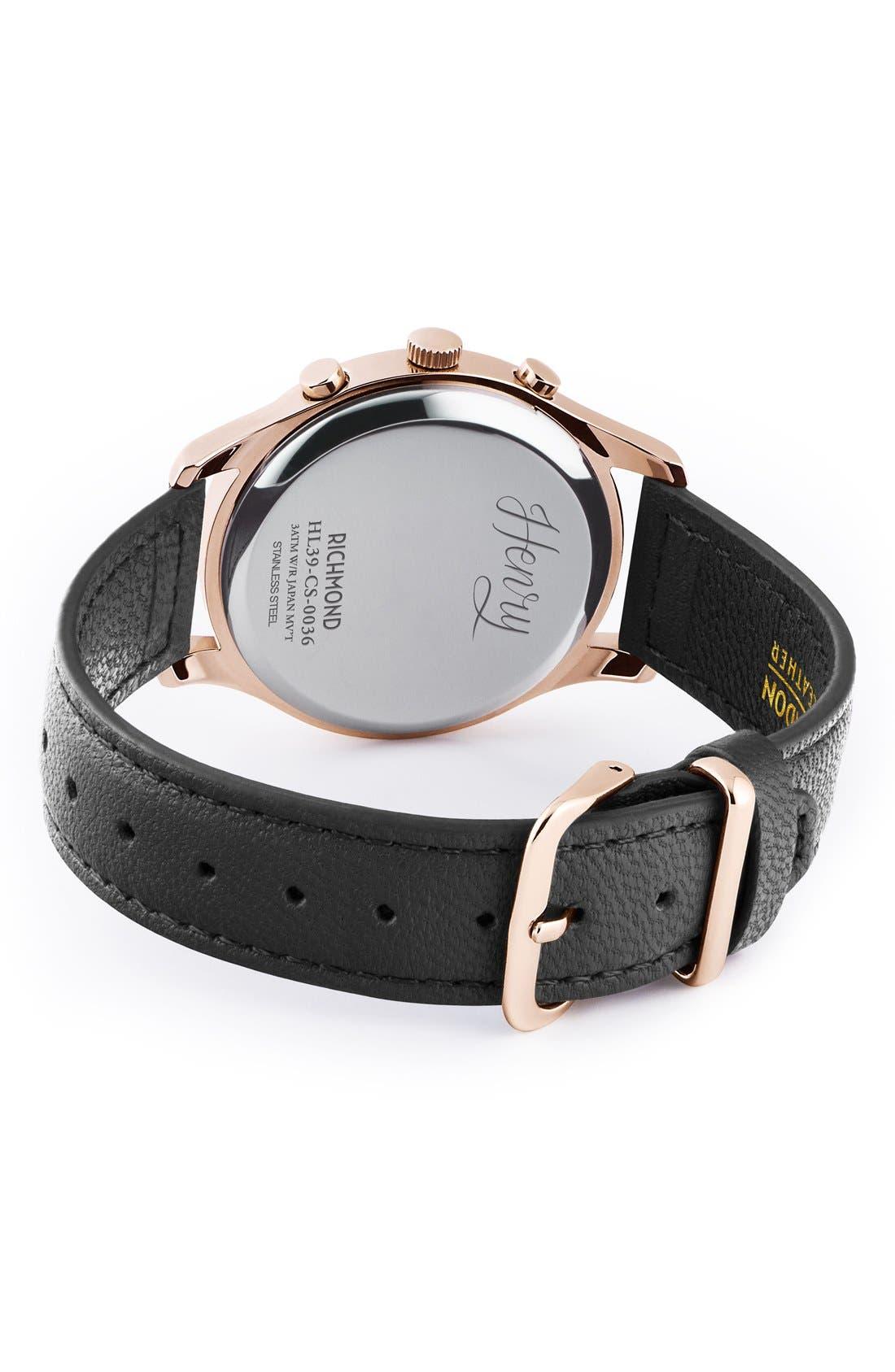 Alternate Image 3  - Henry London Richmond Chronograph Leather Strap Watch, 39mm