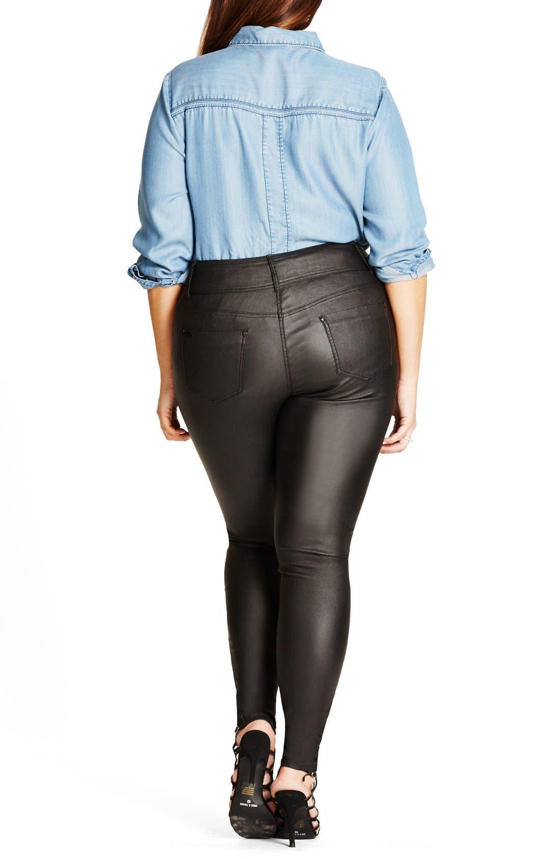 Alternate Image 2  - City Chic Skylar Coated Super Stretch Skinny Jeans (Plus Size)