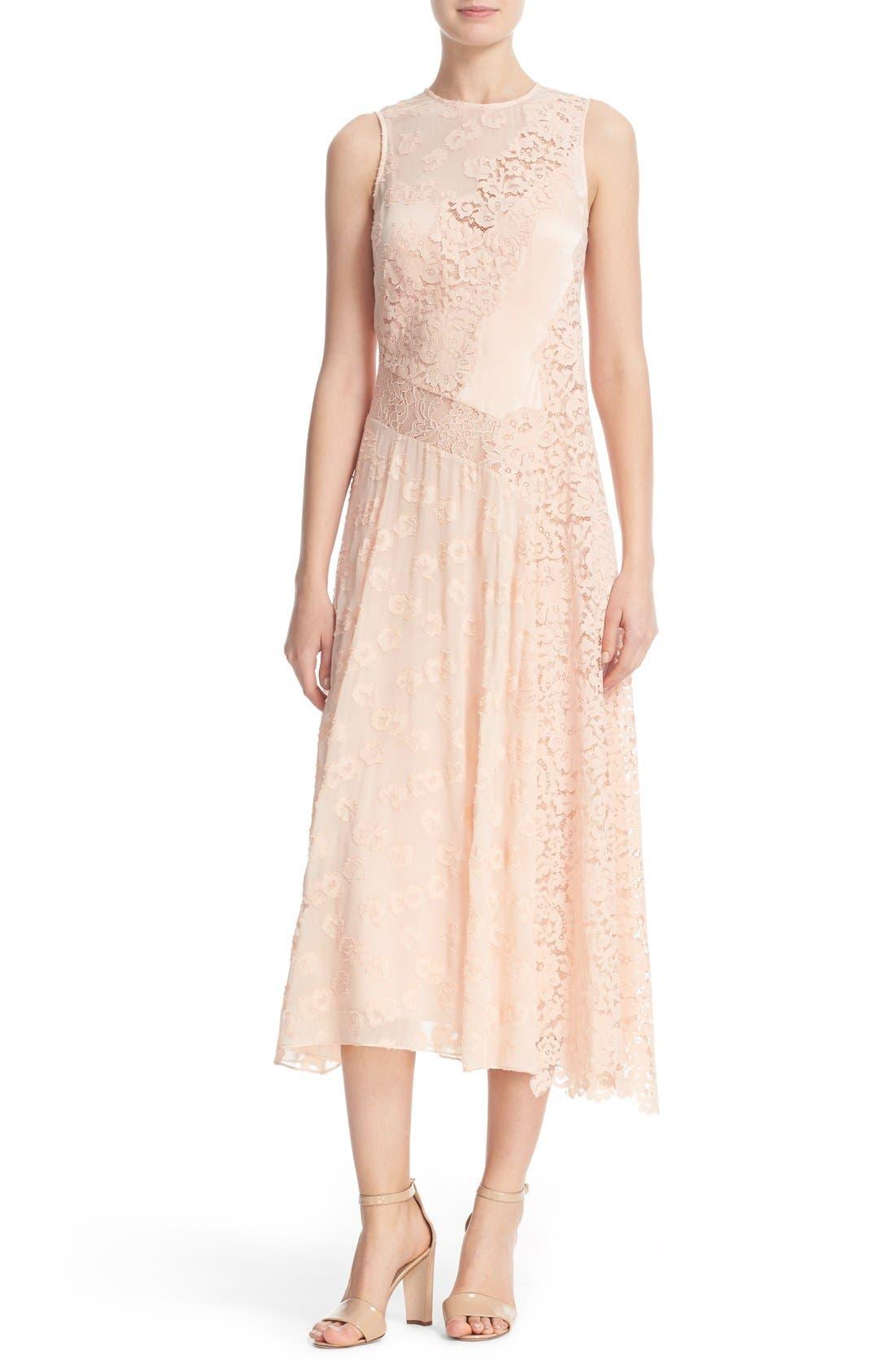 Main Image - Rebecca Taylor Chevron Lace Midi Dress
