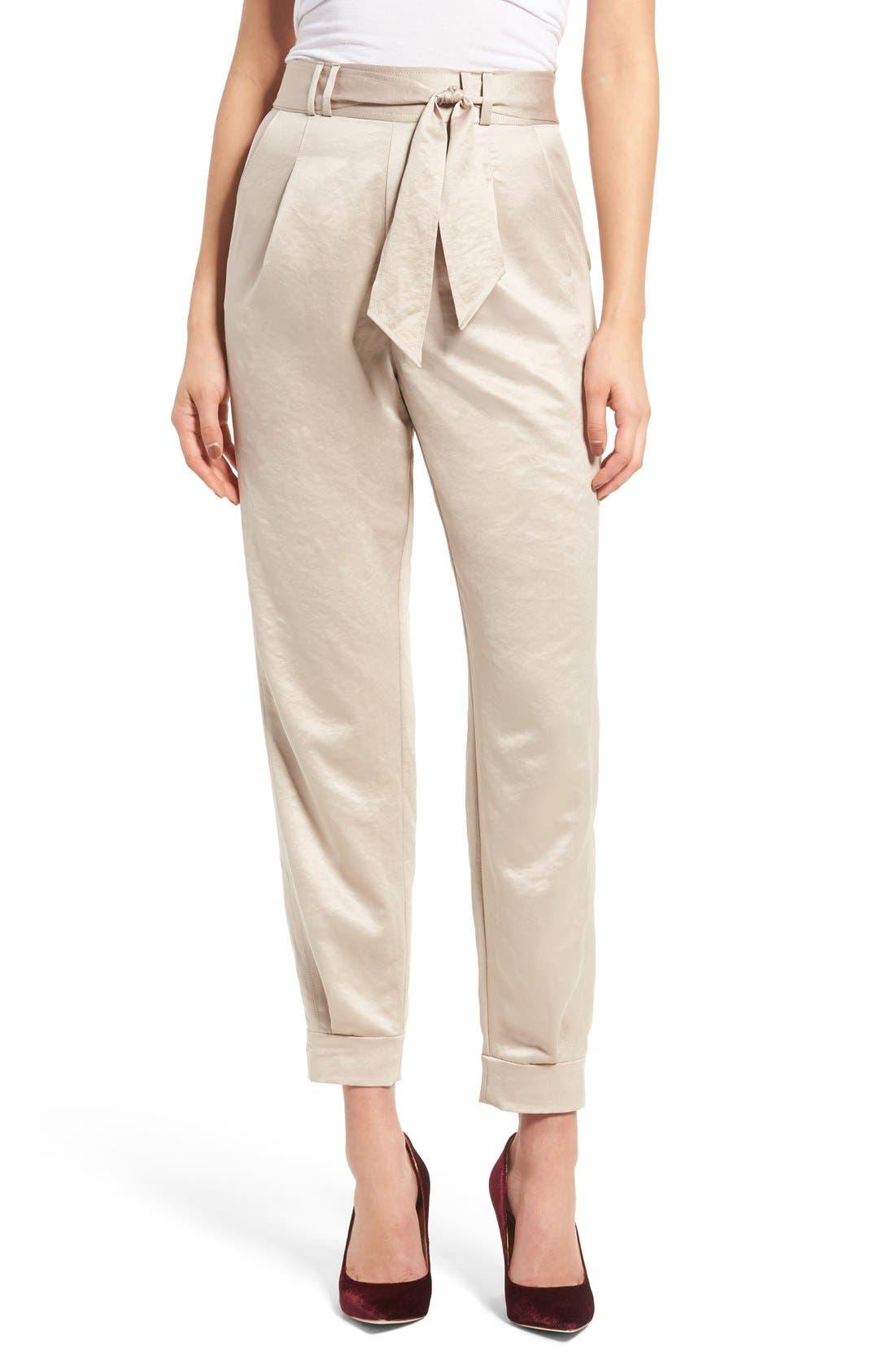 Alternate Image 1 Selected - Leith Tie Waist Satin Pants