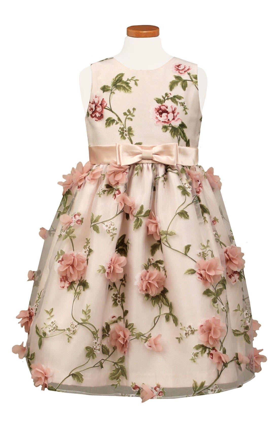 SORBET Embellished Floral Print Organza Dress