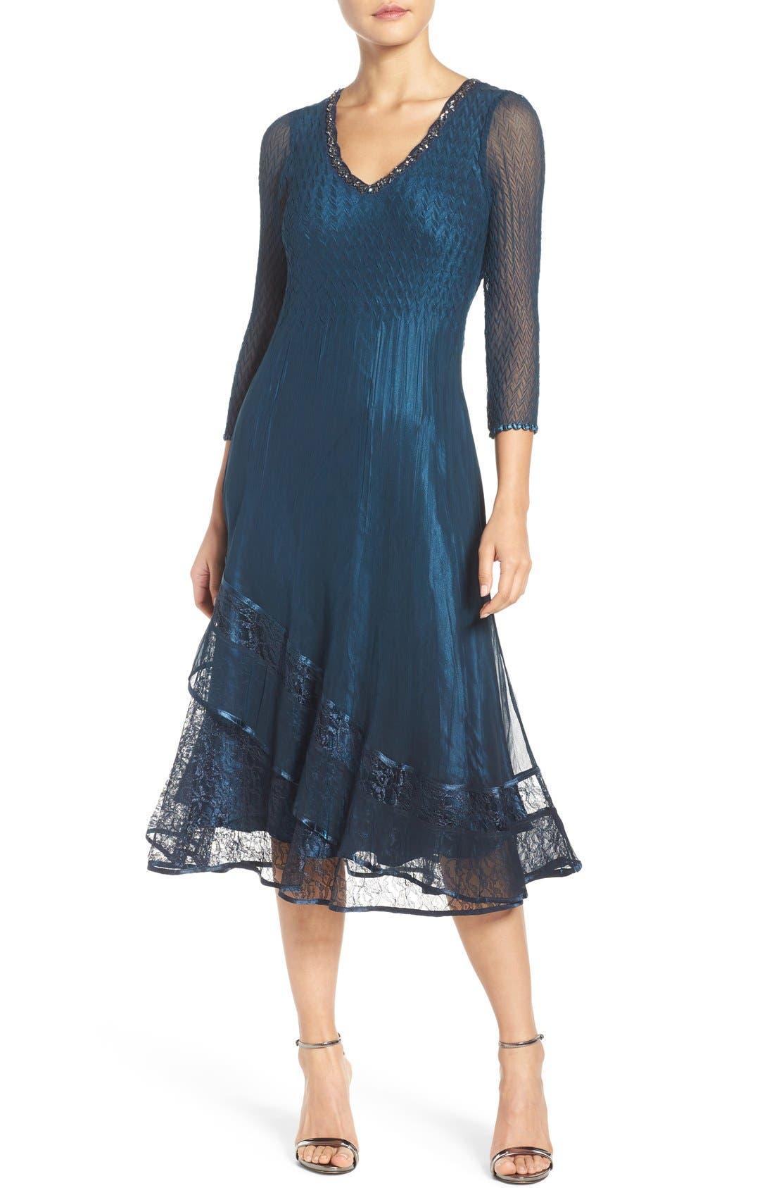 Komarov Embellished A Line Dress Regular Amp Petite Nordstrom