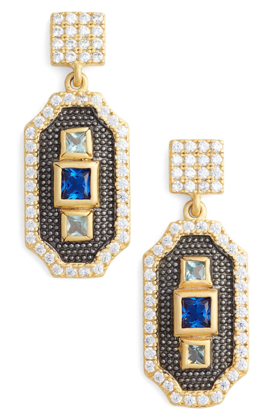 Alternate Image 1 Selected - FREIDA ROTHMAN Modern Mosaic Petite 3-Stone Drop Earrings
