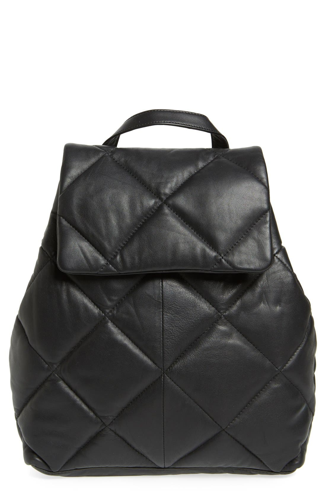Main Image - Topshop Bryan Puffer Quilted Leather Backpack
