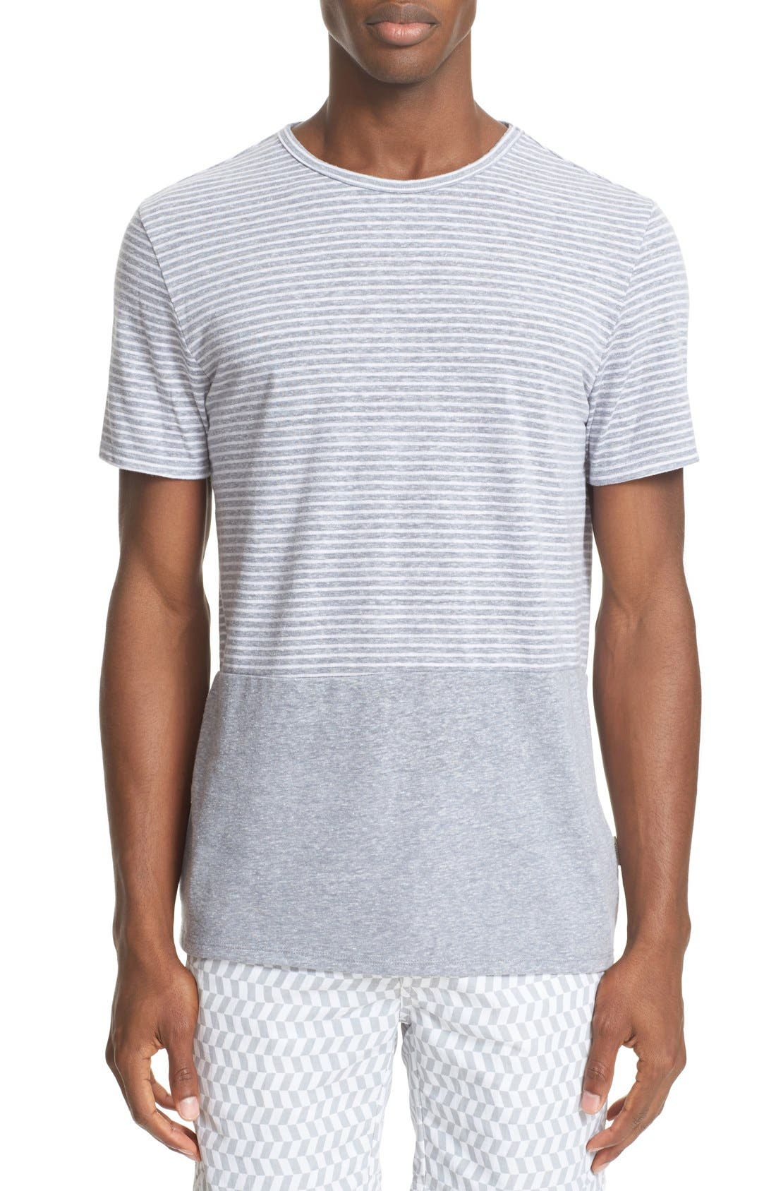 ONIA Chad Colorblock Linen T-Shirt