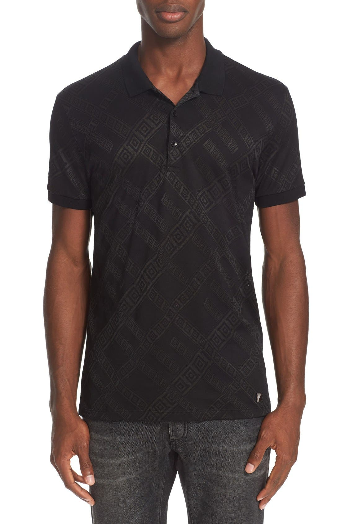 VERSACE COLLECTION Sheer Frame Print Polo Shirt