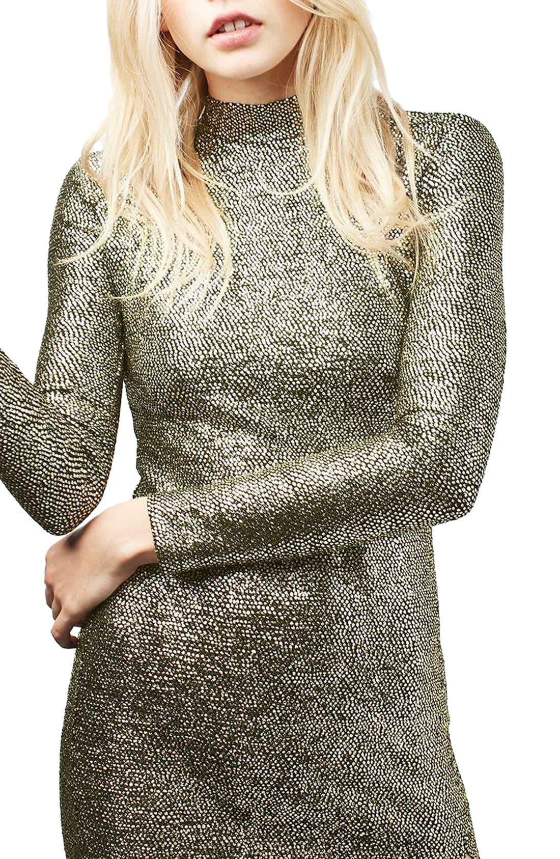 Alternate Image 5  - Topshop Foil Spot Midi Dress (Regular & Petite)