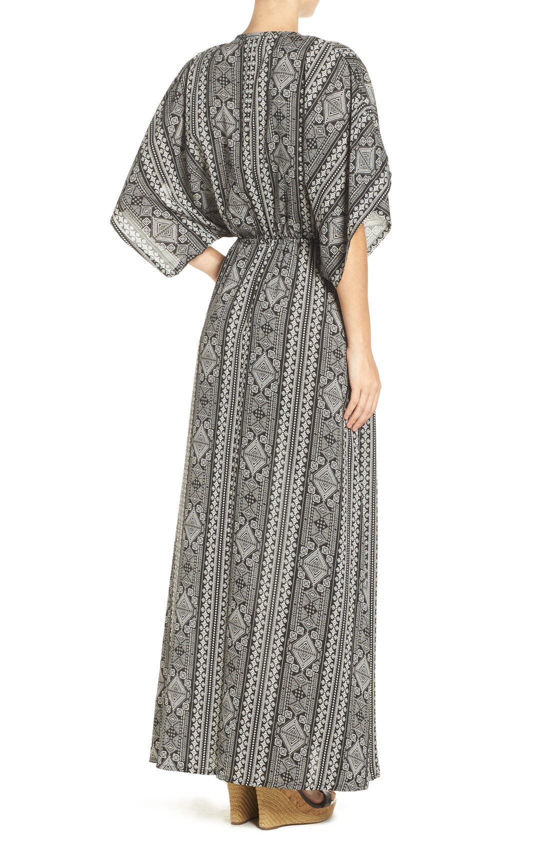 Alternate Image 2  - ElanPrint Woven Cover-Up Caftan Maxi Dress