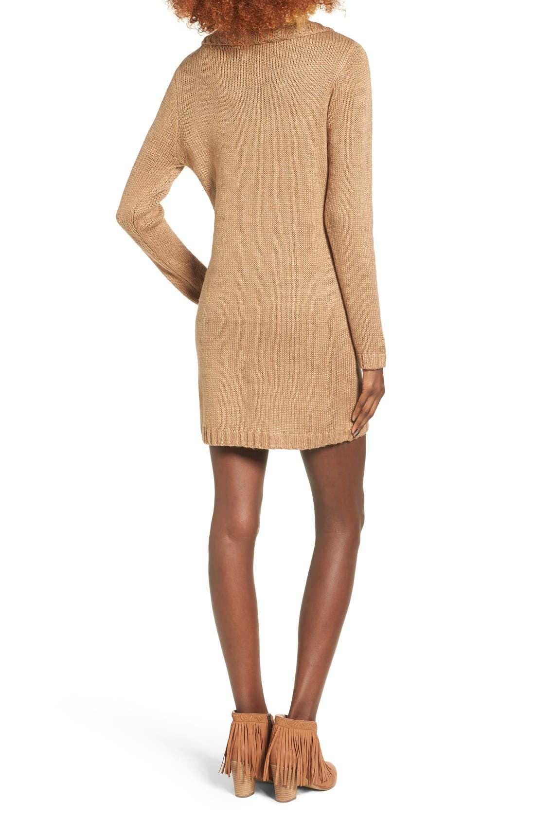 Alternate Image 2  - Cotton Emporium Turtleneck Sweater Dress
