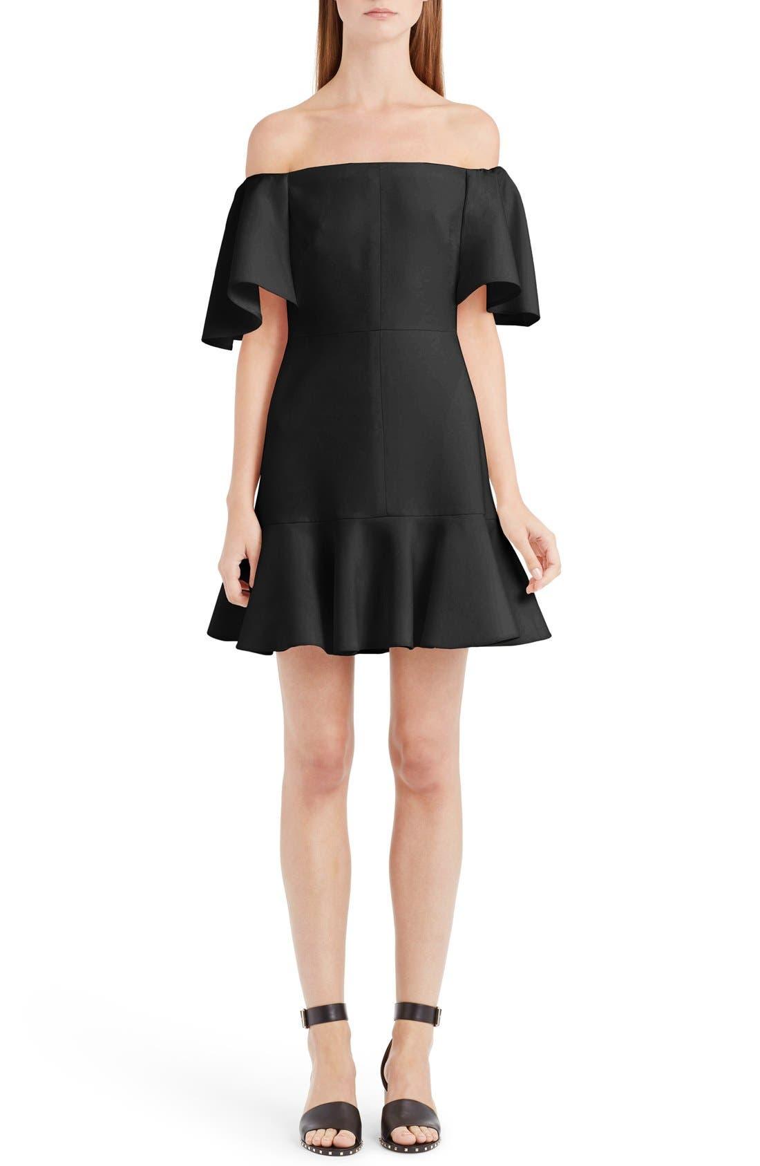 Alternate Image 1 Selected - Valentino Flutter Hem Off the Shoulder Dress