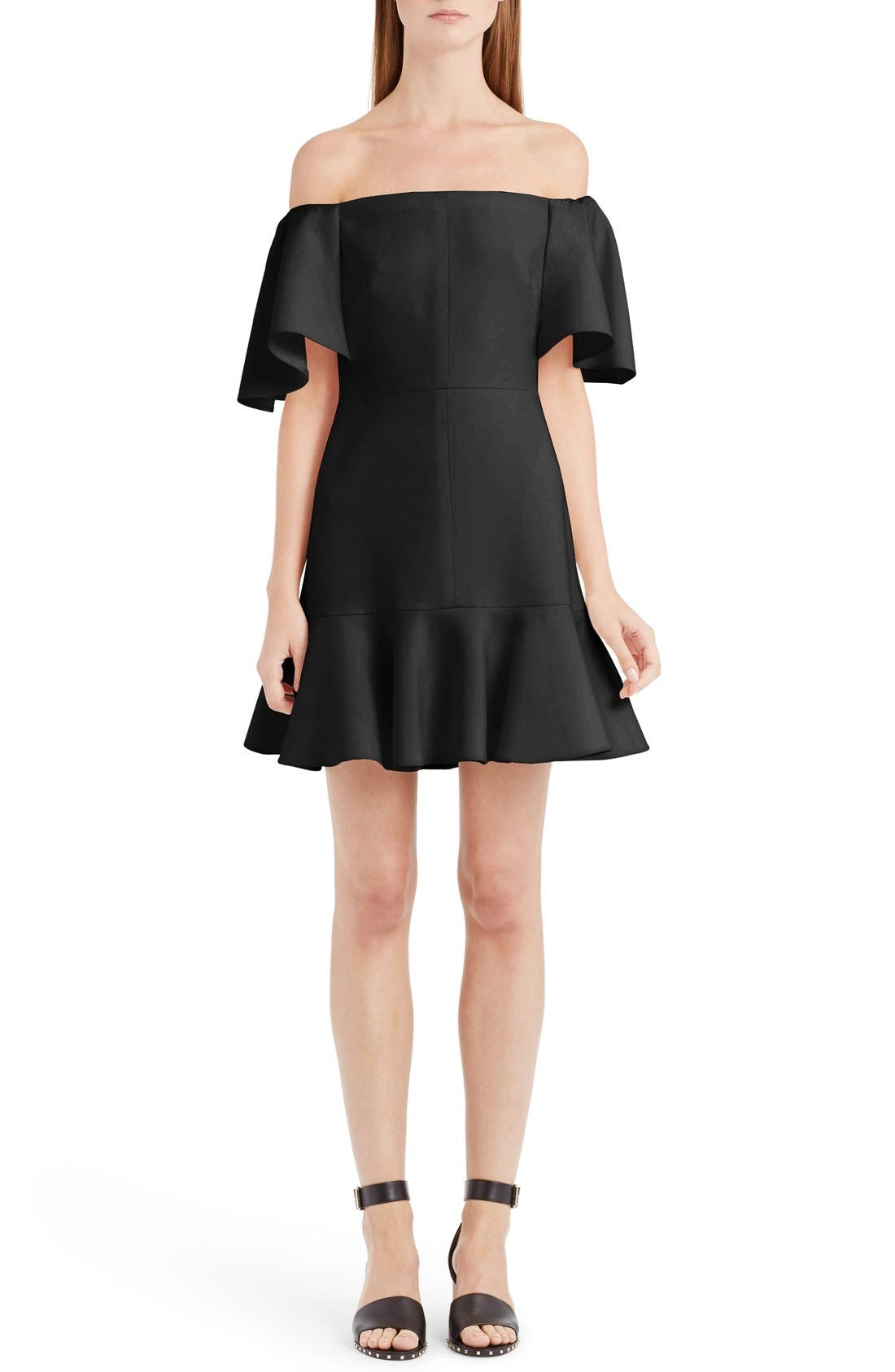VALENTINO Flutter Hem Off the Shoulder Dress