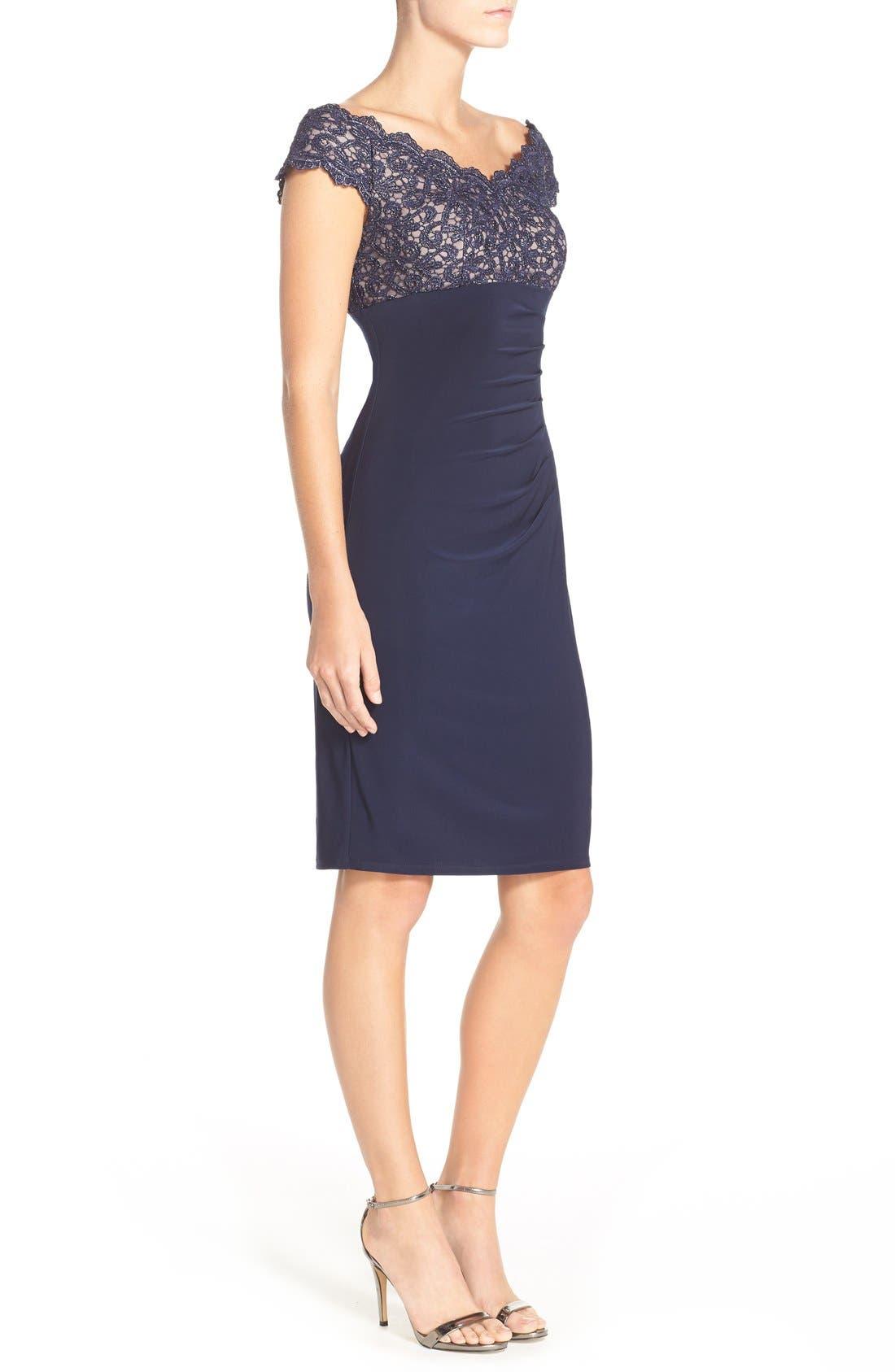 Alternate Image 3  - Xscape Lace & Jersey Off the Shoulder Sheath Dress (Petite)
