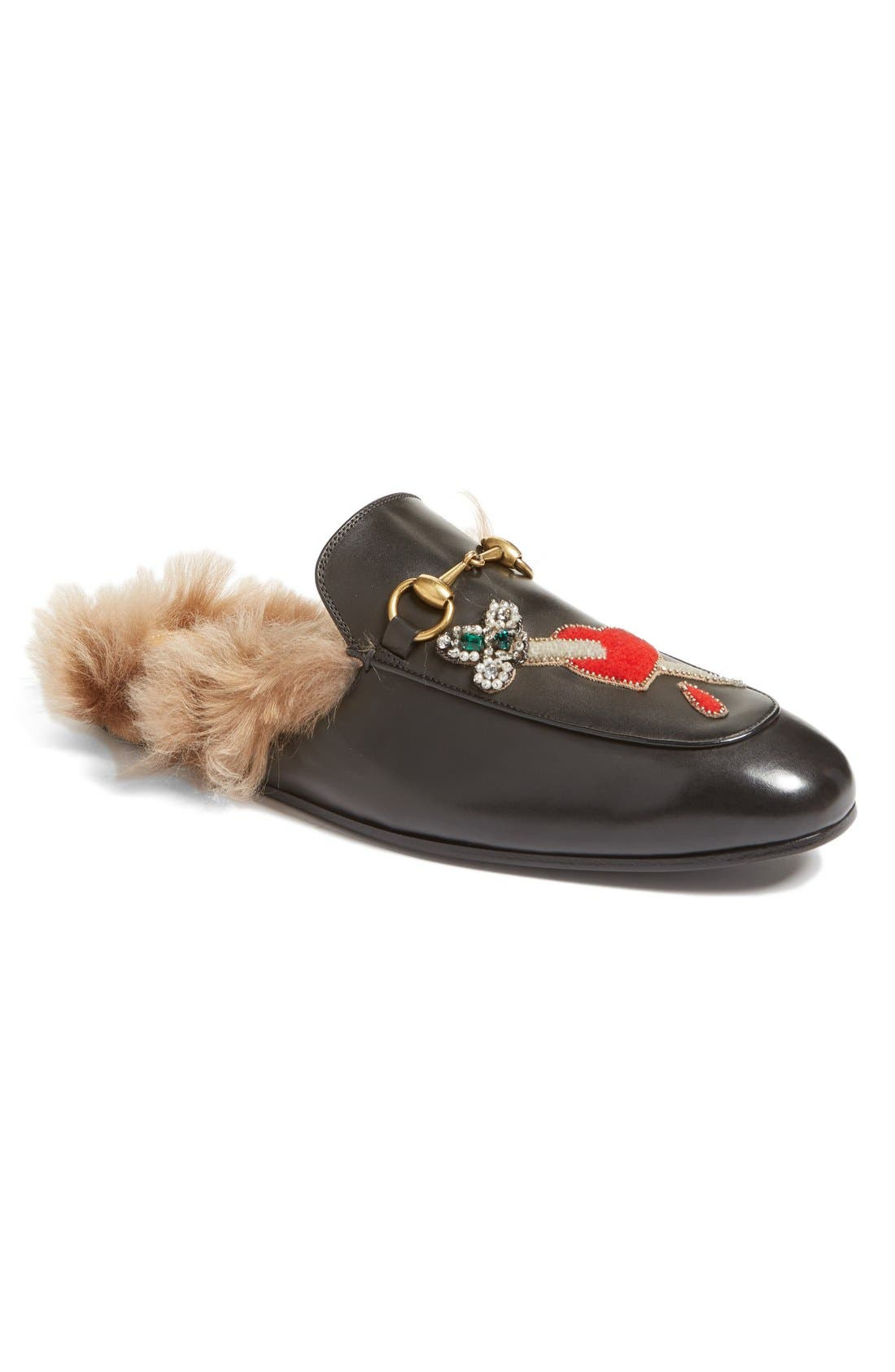 Main Image - Gucci Princetown Genuine Shearling Lined Mule Loafer (Men)