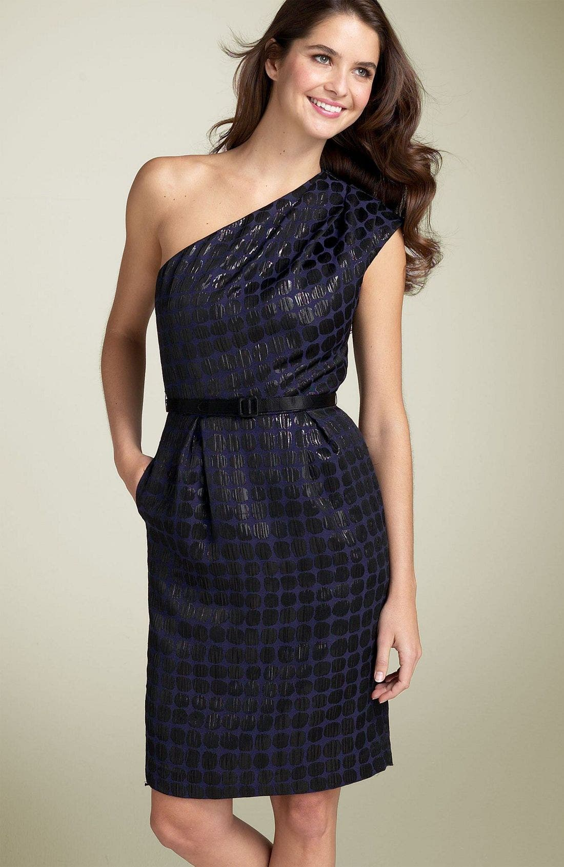 Alternate Image 1 Selected - Maggy London Single Shoulder Jacquard Dress