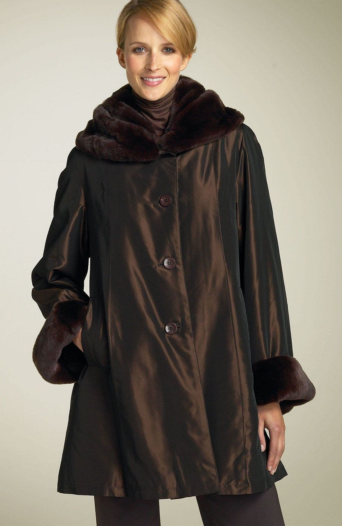 Main Image - Chosen Furs All Weather Jacket with Rabbit Fur